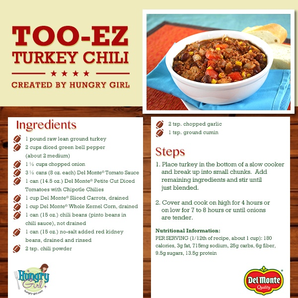 Hungry Girl's chili is a game-day winner! PER SERVING (1/12th of recipe, about 1 cup): 176 calories, 3g fat, 765mg sodium, 23g carbs, 5.5g fiber, 6g sugars, 13g protein -- PointsPlus® value 4*
