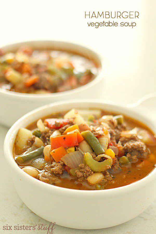 Hamburger Vegetable Soup on SixSistersStuff