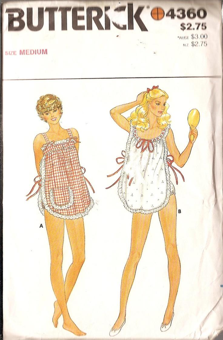 """#vintagepattern Shortie Nightie, panties, Butterick 4360 size Misses Medium 12-14 Bust 34"""" to 36"""" Nightgown and Panties"""