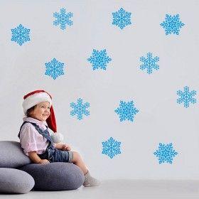 Vánoční dekorace na zeď - Modré vločky
