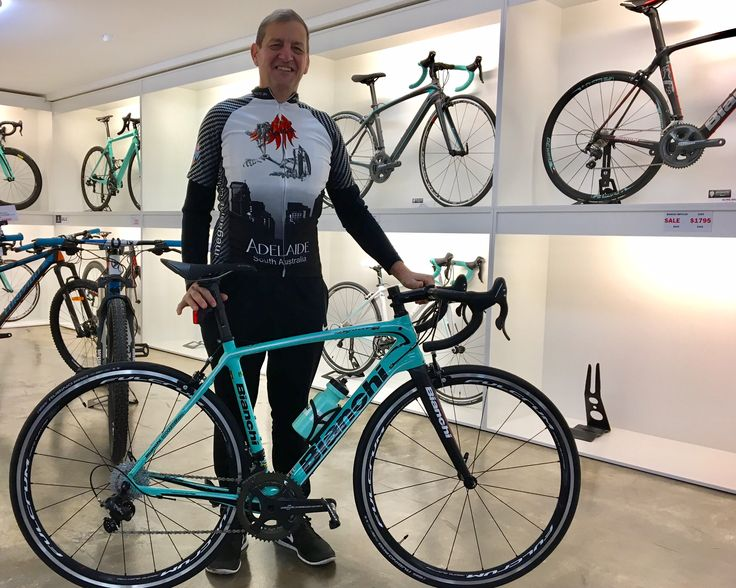 A very happy Kelvin with his Bianchi Infinito CV