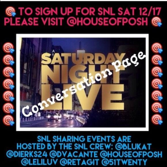 🎯SNL TONIGHT🎯 Go to @houseofposh to join! When is it? What time? Who's closet is it in? That's all part of the fun! Like this listing and I'll let you know all the details next time we share Other