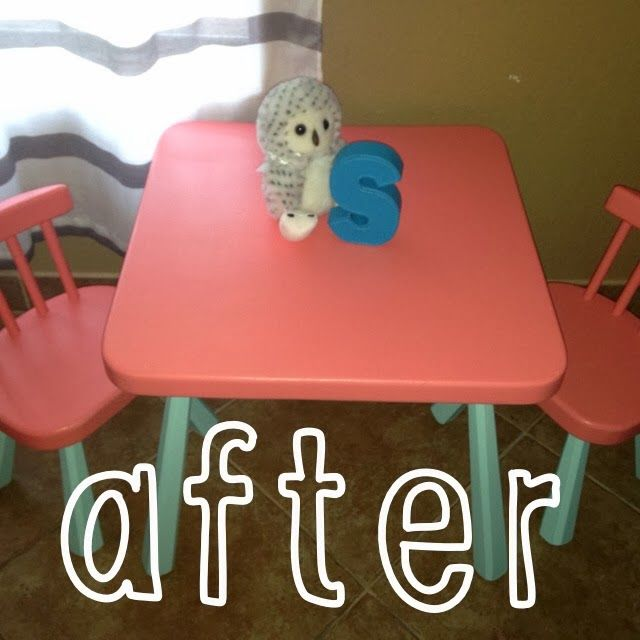 Before & After kids table from Goodwill makeover.  DIY Kids Room.  Simone Diaries.  Pink & Mint.  Coral and teal.  Kids Furniture.