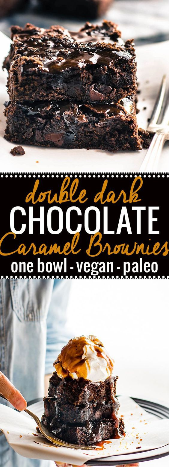 One bowl vegan desserts like these double dark chocolate salted caramel brownies are easy to make and paleo. These one bowl vegan brownies are made with two kinds of dark chocolate an topped with a dairy free salted caramel sauce. The perfect rich fudgy taste and texture! http://www.cottercrunch.com