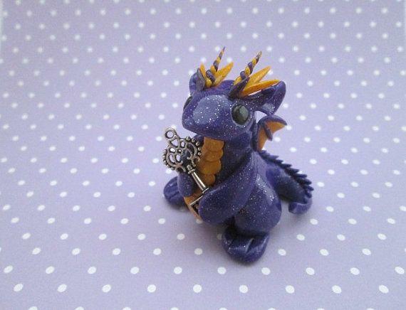OOAK Hand made Polymer Clay Glitter Purple Key by KriannaCrafts