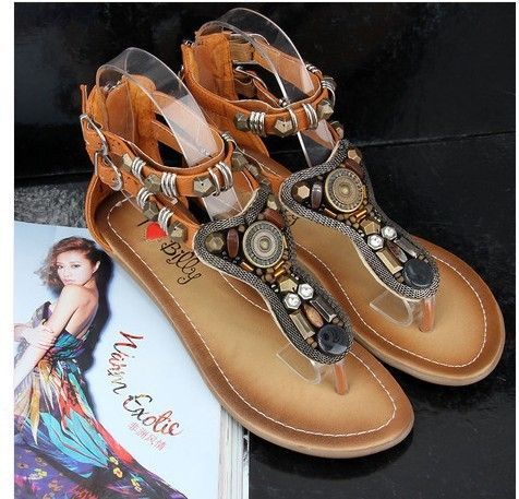 Summer female fashion sandals slippers vintage bohemian beaded sandals genuine leather flat sandals for women size 35-41 KLHO5 US $58.19