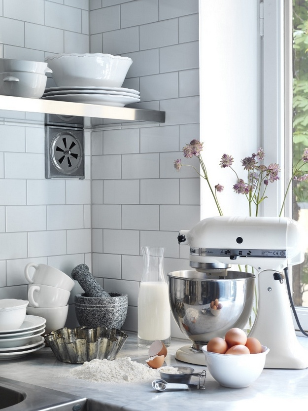 This is a me-ish kitchen. Complete with a white Kitchen Aid mixer!