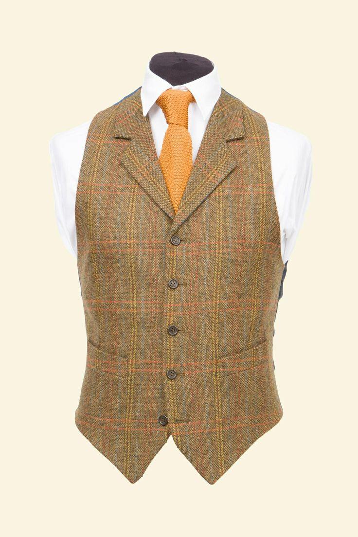 Expensive, but great!! Amber Multicheck Vintage Shetland Tweed Patrick Waistcoat