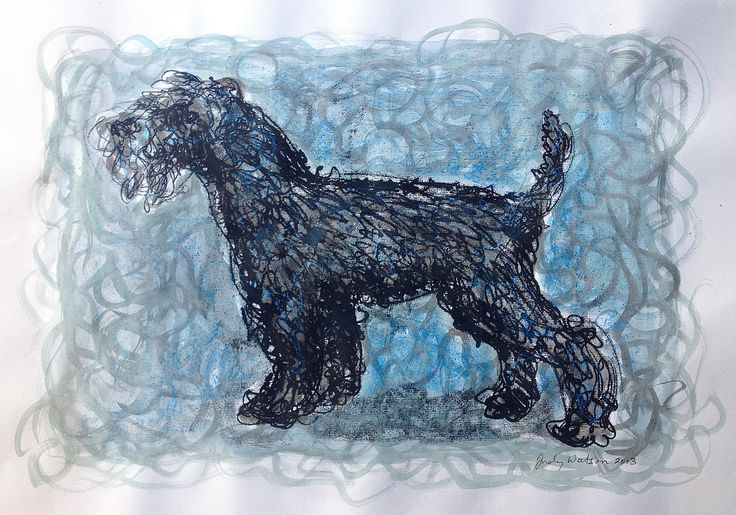Kerry Blue Terrier monotype with watercolour. Can't use water-colour on this kind of paper. But it's great for monotype line alone. A fine kind of ingres paper with a really nice bit of texture to enhance the fuzziness of the printed line.