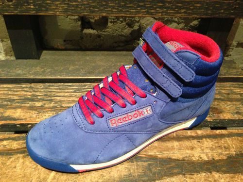 55134316169 New Reebok Women Freestyle Classic HI Top Shoes Blue Suede Trainers J97429