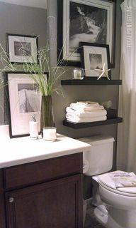 Bathroom   Dark Brown Wood, Green Walls, Black Floating Shelves