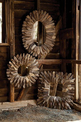 Large Bathroom's Mirrors – Choice of Ornate Driftwood and Beveled Oak Mirrors. Click on the picture to read the article.