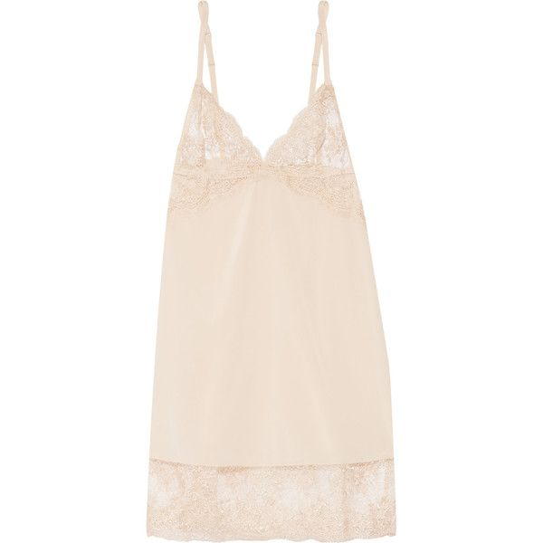 Mimi Holliday by Damaris - Every Yours Lace-trimmed Silk Chemise (1,835 MXN) ❤ liked on Polyvore featuring intimates, chemises, neutral, body suit, mimi holliday by damaris, silk bodysuit, lace trim chemise and lingerie chemise