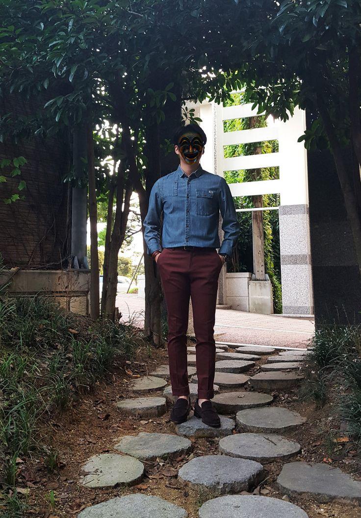 [블렌드 Blend] 데님 셔츠 + [멋남] 치노팬츠 + [수제화] 스웨이드 로퍼 / 2015. 09. 19