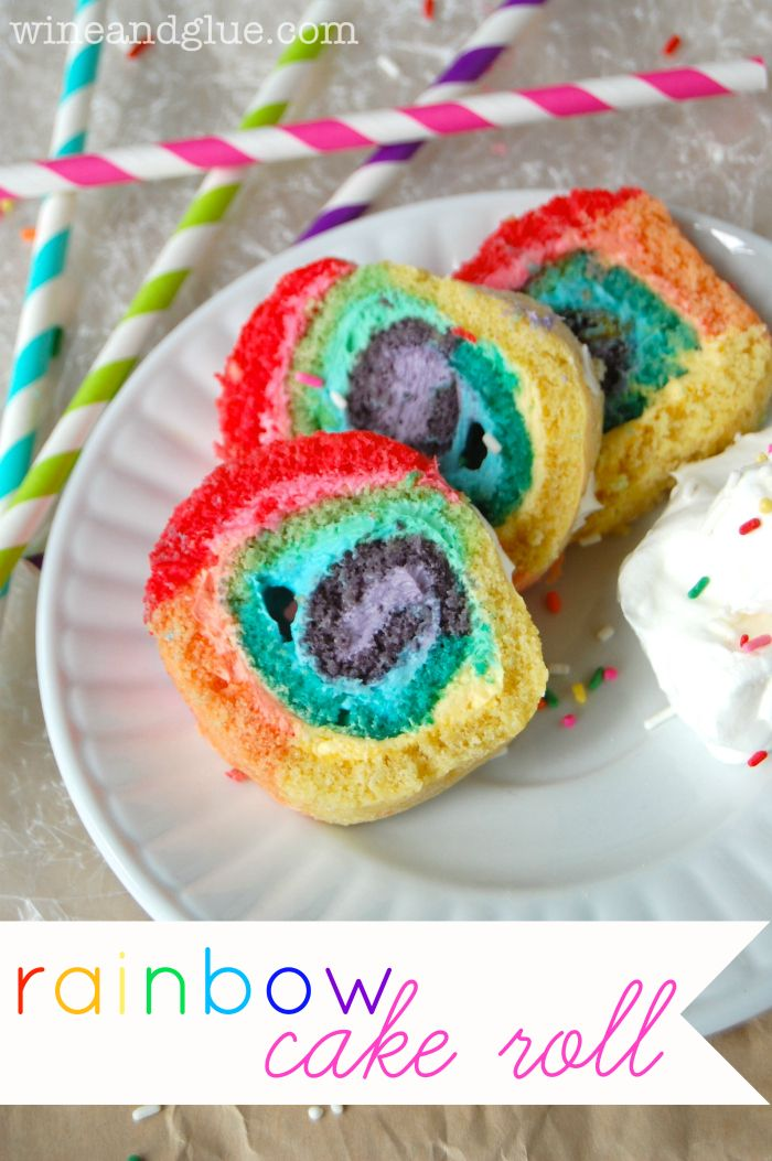 Rainbow Cake Roll!  An easy recipe with a big wow factor!! via www.wineandglue.com @Lisa (Wine & Glue)