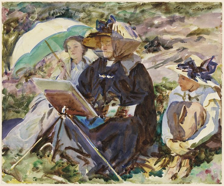 "John Singer Sargent paints his sister Emily (center) with their nieces in the Alps in his 1911 watercolor ""Simplon Pass: The Lesson."" (Courtesy Museum of Fine Arts, Boston)"