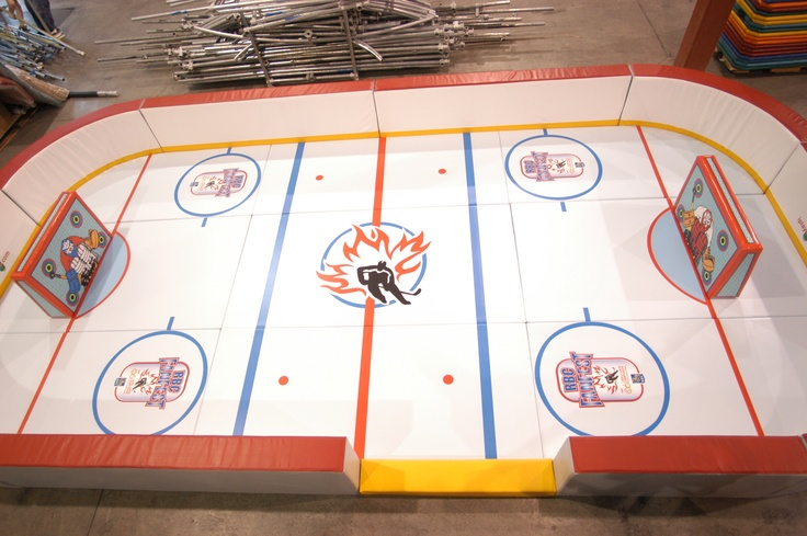 Add your hockey team logo? Or your business logo to the floor mats. Everyone is custom designed. Hockey, football, soccer, basketball toddler sport arenas. Soft and fun for smaller children. Great for events at your club or shopping center.