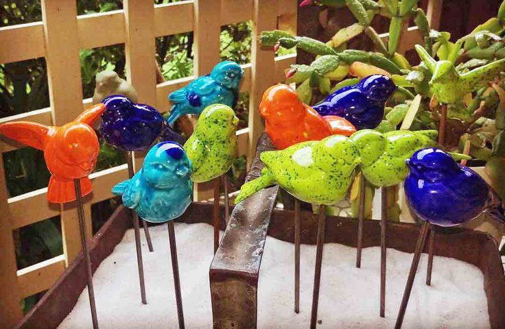 Birds Ceramic on Metal Sticks from $10