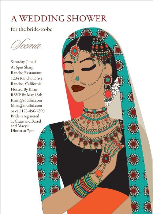 Mehndi Party Evite : Maharani diva indian bridal shower invitations by