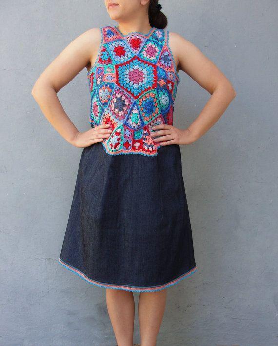 Rainbow Denim Dress Hand Crocheted Lace Dress Bohemian multicolored size 10/12 EU size 40/42