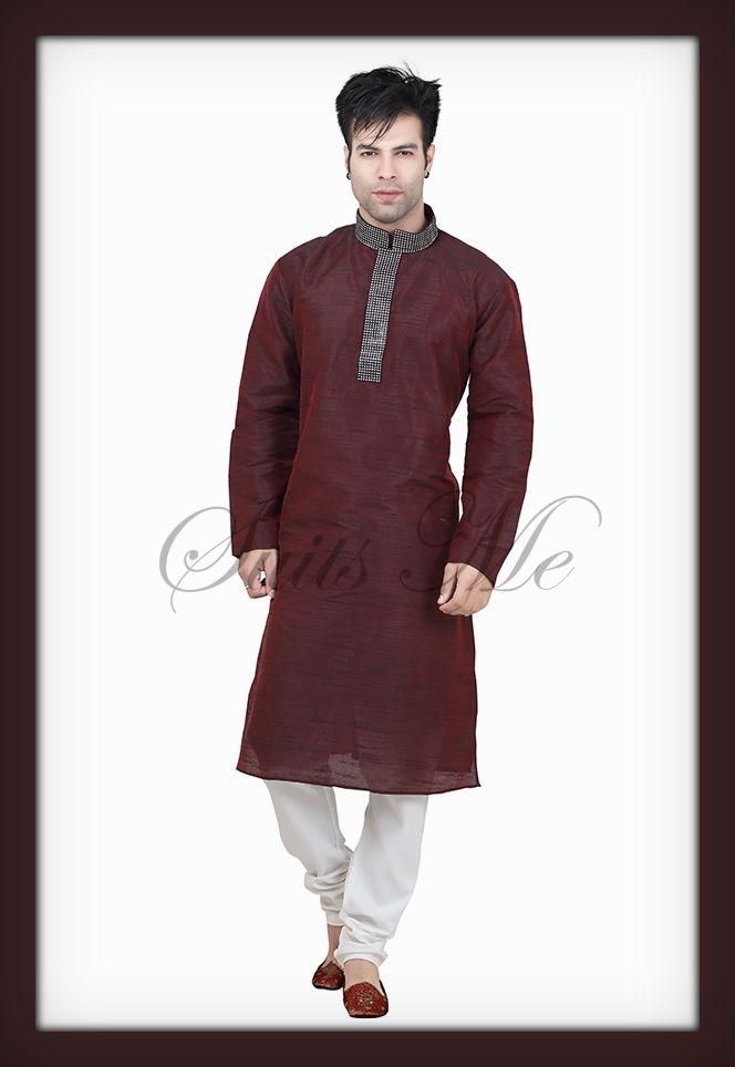 Check out this original collection by Suits Me http://www.suitsmeonline.com/mens-kurta-pajama/men-kurta/men%27s-wear/smm0208.aspx