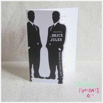 Mens in  Black Un faire-part grand format, sobre et élégant. Réalisé par es Papiers Pimpants