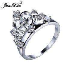 JUNXIN 2016 New Crown Forma do Corte Da Princesa Branco Zircão Claro Anéis de Dedo Partido Para As Mulheres de Casamento anel de Ouro Branco Cheio Bijoux(China (Mainland))