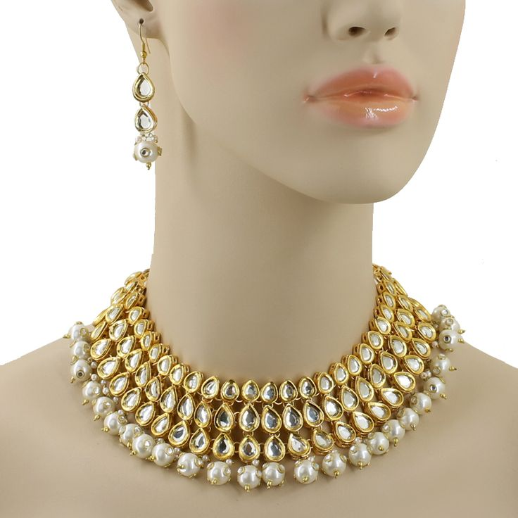 Pearl Beads Rose Cut Polki Necklace @ Indiatrend For $74.99USD