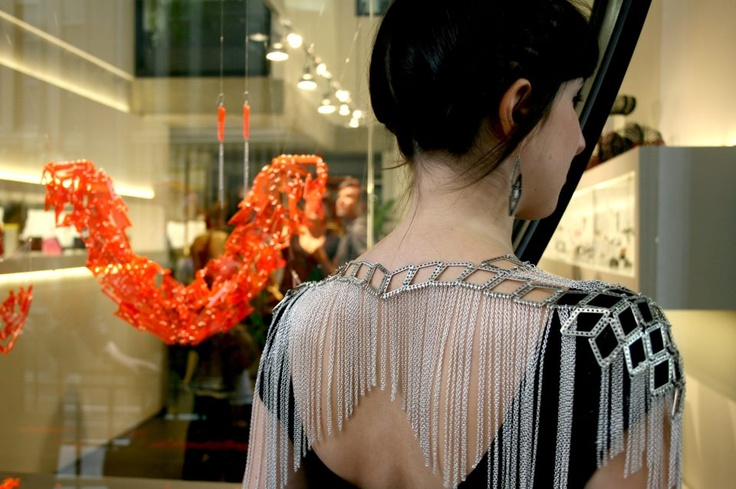 Melanie Katsalidis wears Alexi Freeman Neo Lace Capelet collab with Tessa Blazey to our Cosmic Artefacts opening at Pieces of Eight. LMFF, March 2012.