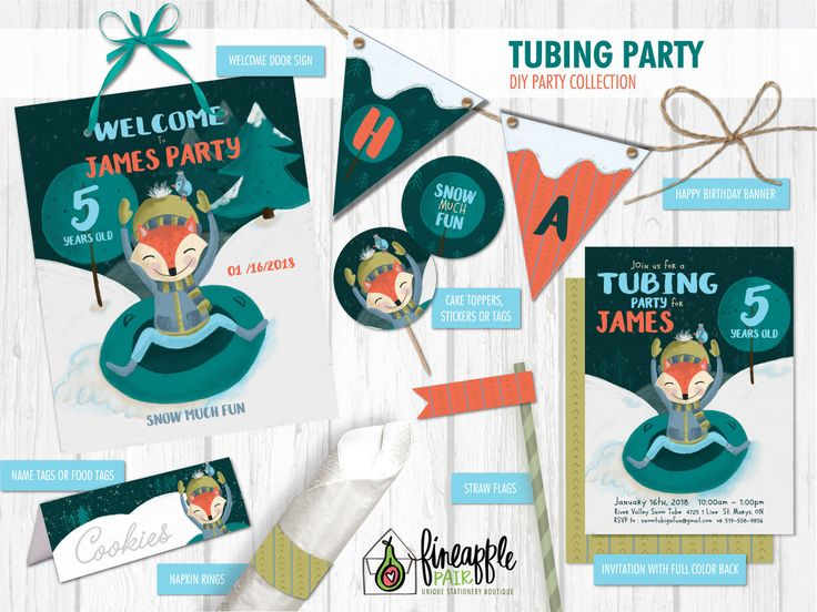 Tubing Party Invitation, Tubing Birthday, Boy Birthday, Winter Party, Sledding Party, winter, Snow, Fox, Fox Birthday, teal, invitations by FineapplePair on Etsy