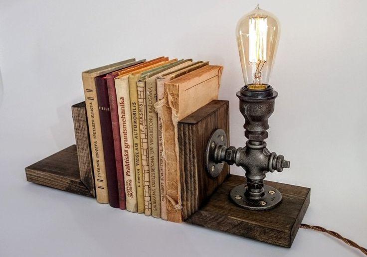 Buchstützen - Buchstützen, Buchstopper, Buchstützen lampe - ein Designerstück von SilverBeardLampCo bei DaWanda