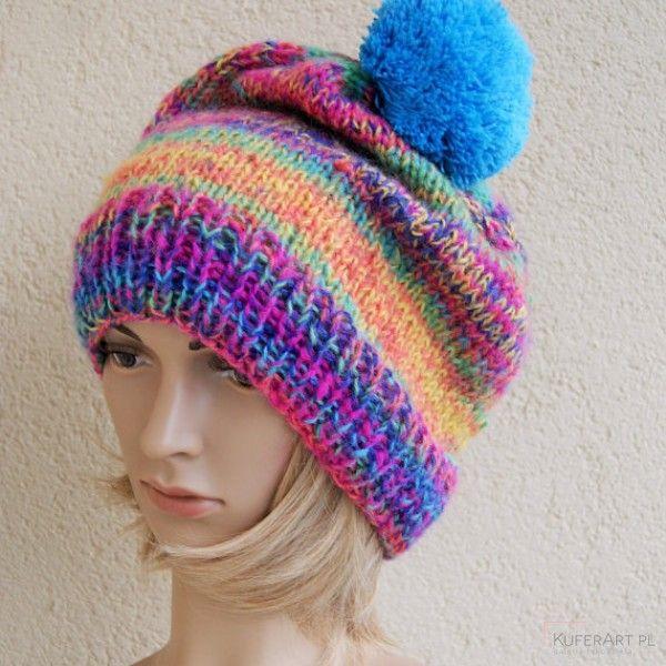 Duża melanżowa czapka dla niej, dla niego - Czapki, berety - Ubrania