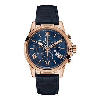 Montre Guess Collection Homme Y08007G3 - Quartz - Chronographe - Cadran en Acier inoxydable Doré - Bracelet en Cuir Bleu - Date - Étanche 100 mètres