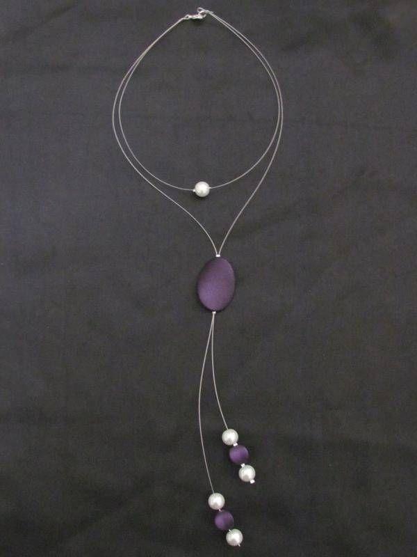 Collier fil cabl collier ras du cou bijoux de line fait maison perles et bijoux - Bijoux fait maison ...