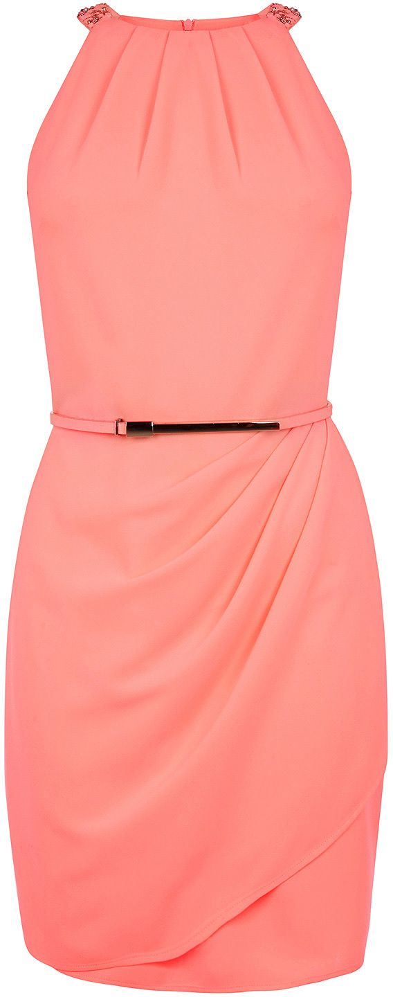 Womens coral dress from Oasis - £25 at ClothingByColour.com