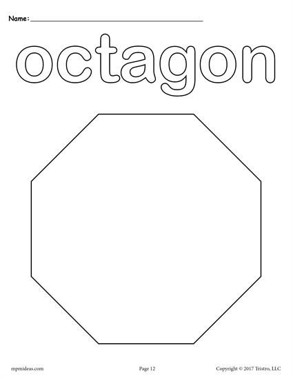 Free Preschool Shapes Coloring Pages Includes An Octagon Coloring Page Plus 11 Other Shapes Shape Coloring Pages Shapes Preschool Printables Shapes Preschool