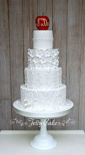 Snow White Wedding Cake | by www.jellycake.co.uk Snow White, fairytale inspired, all white, blossoms, bark, and a rosy apple wedding cake
