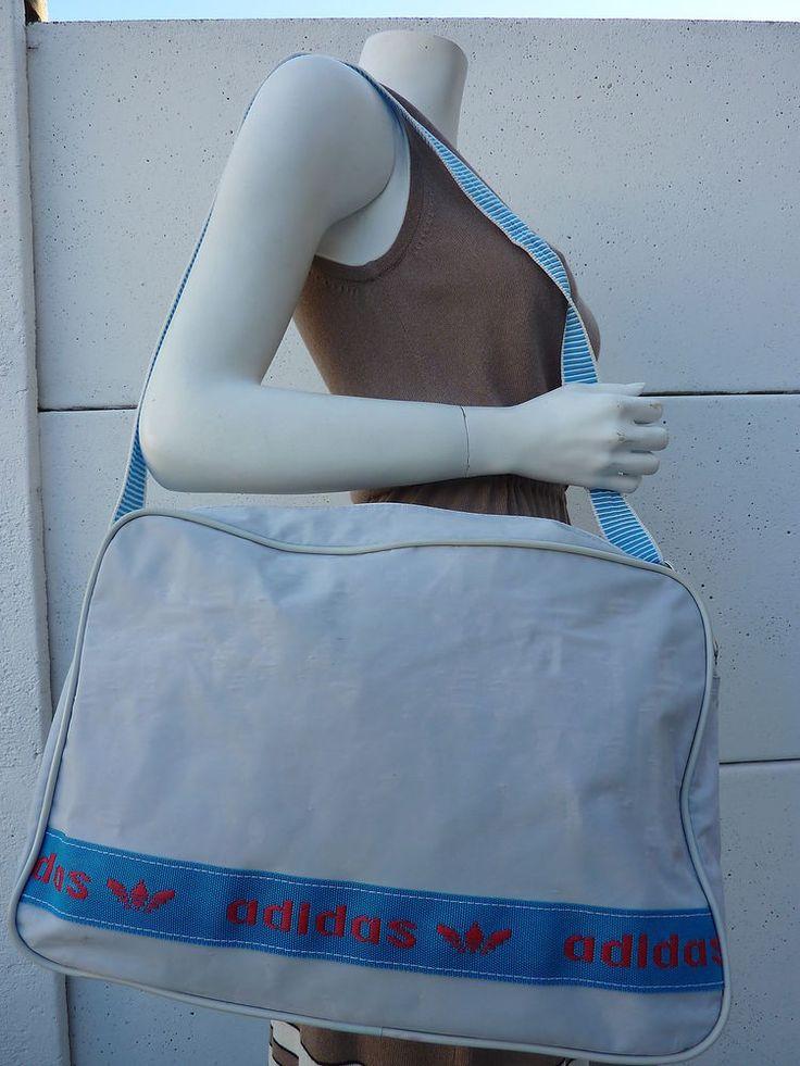 sac de sport ADIDAS Vintage année 80 Made in France Bleu ciel Bag