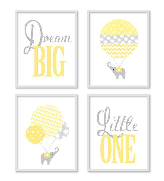 Dream Big Yellow Grey Nursery Elephant by StrawberryJamStudio, $40.00