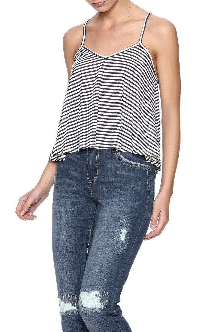 Cropped cami featuring navy and white stripes v-neckline and loose-fit lower hem.  Nautical Spaghetti Cami by Michelle by Comune. Clothing - Tops - Tees & Tanks Clothing - Tops - Sleeveless Florida