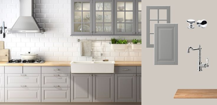 AKURUM kitchen with LIDINGÖ grey doors/drawers/glass-doors and NUMERÄR solid beech countertop