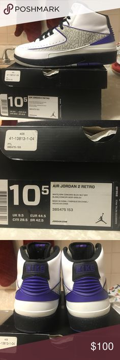 Air Jordan 2 Retro (white/Dark concord) Worn twice very lightly....great condition..original box 100%Authentic of course(nothing i post is FAKE AT ALL) and my prices are official i dont ask for much .. Jordan Shoes Sneakers