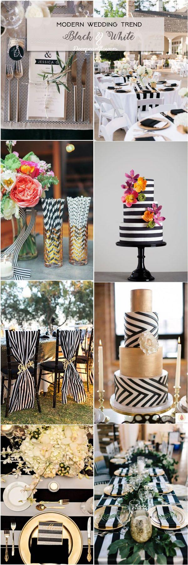 Black and White Chevron Stripes Wedding Ideas / http://www.deerpearlflowers.com/modern-wedding-theme-ideas/