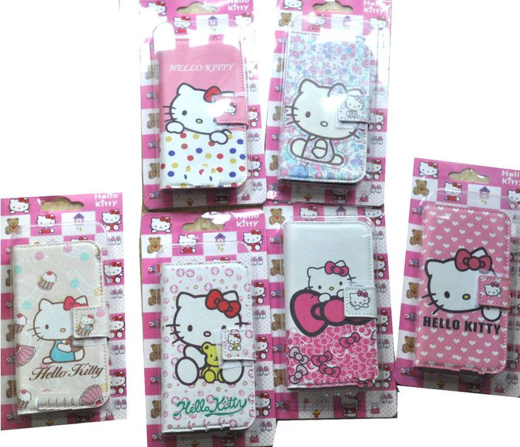 Cute hello kitty Cartoon Leather PU Wallet Cover Case Skin for iphone 4g 4s