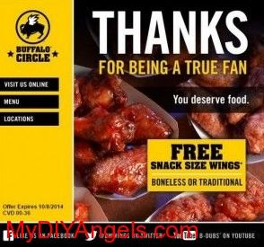 Buffalo Wild Wings: FREE Snack Size Wings Offer! | MY DIY ANGELS, DIY and Extreme Couponers
