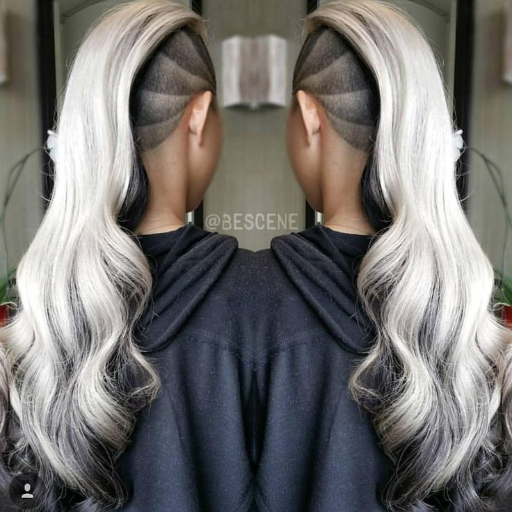 Long wavy grey silver with side shave design