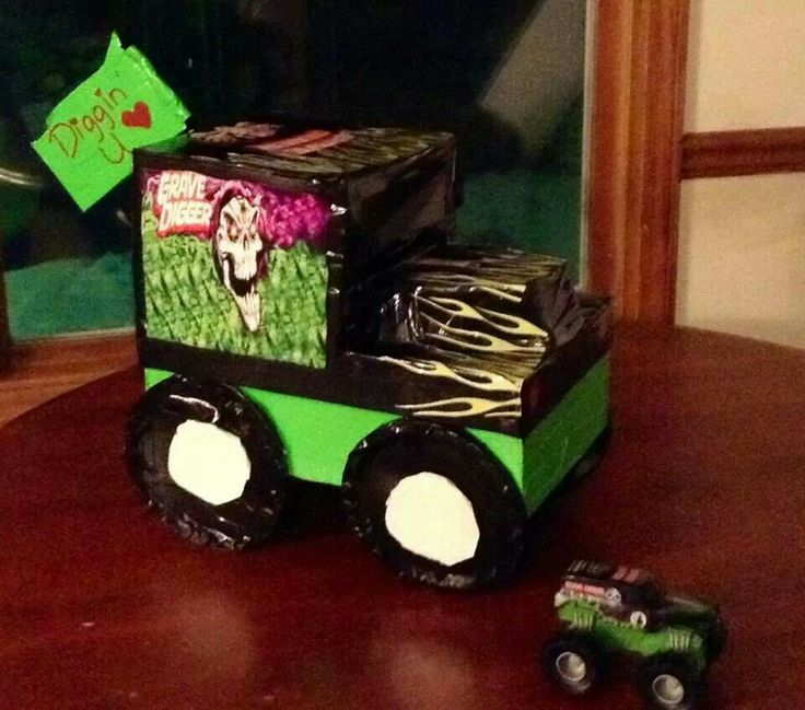 Grave Digger Monster Truck Valentine Box. - When we were looking for some pinspiration  for our Monster Truck box, we couldn't find anything Grave Digger specific. So we decided to pin the box we came up with.