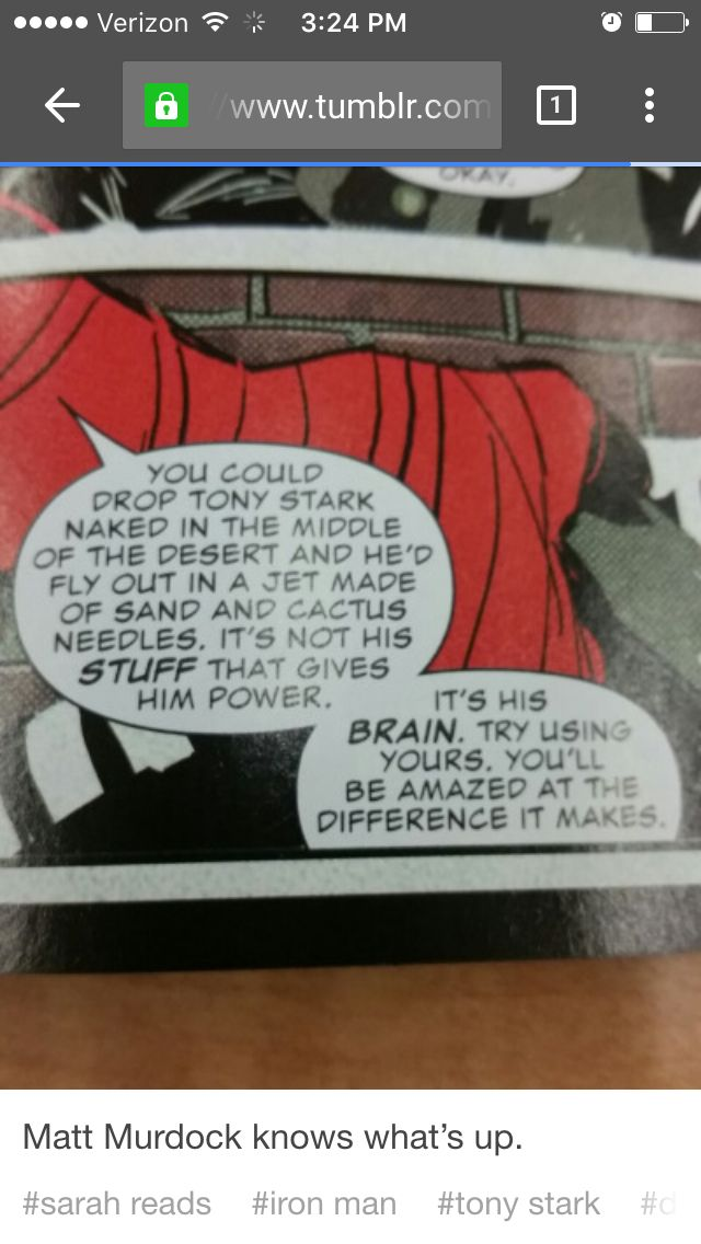 Matt Murdock knows what's up also I can't tell if he's saying drop Tony Stark or drop Toby stark naked did he make a pun