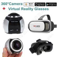 Free shipping! 4K 360 Degree Wifi Panoramic Camera Sport Action VR Camera DVR Sliver w/3D VR Glasses
