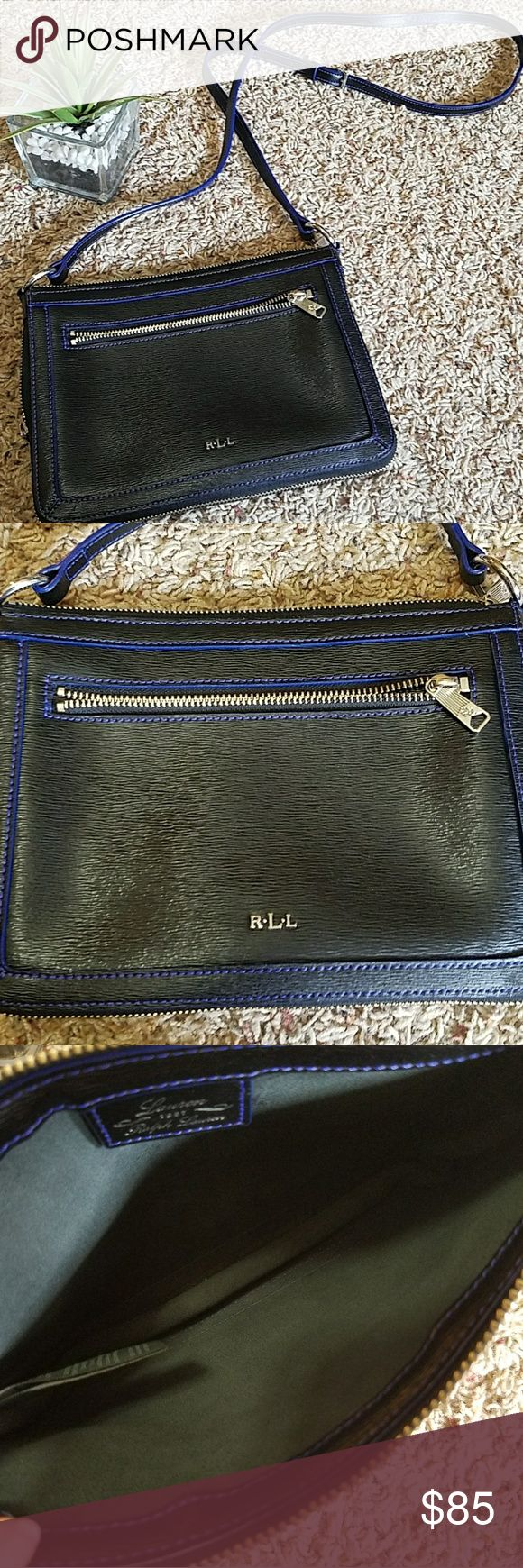 Ralph Lauren shoulder bag Beautiful black leather with dark bluish purple detailed stitching shoulder bag.  Outside gusseted zipper for expansion. Front zippered pocket, very roomy.  Soft Gray suede interior. Strap as shown is currently 23 inches, can adjust.  EXCELLENT condition, never used. Ralph Lauren RRL Bags Shoulder Bags